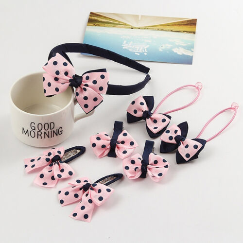 7pcs Korean Headwear Set Children Printing Dot Bow Hair Bands Headband Hair Clip
