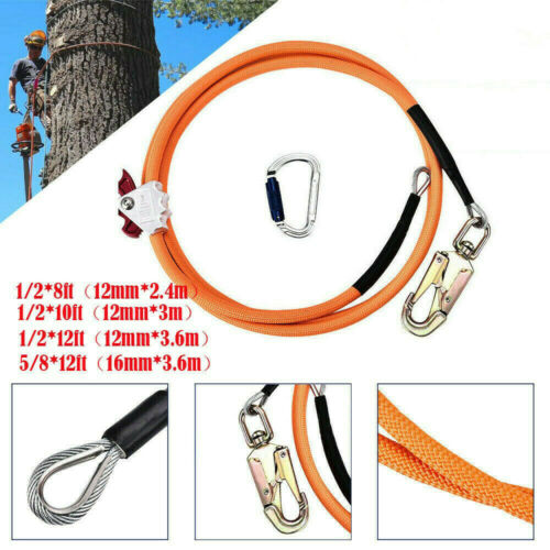 Safety Steel Wire Core Lanyard Kit with Hook Carabineer Climbers Tree Climbing
