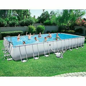 Bestway 31.3 x 16 x 52 in Rectangular Frame Above Ground for Swimming Pool  - Gray