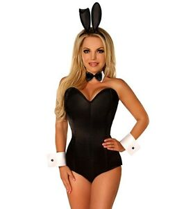 2f130f9f2ebc Image is loading Sexy-Tuxedo-Playboy-Bunny-Black-Romper-Corset-Costume-