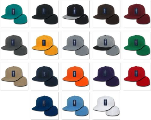 Khaki Fitted Flat Bill Plain Solid Blank Baseball Ball Cap Caps Hat Hats 7 SIZES