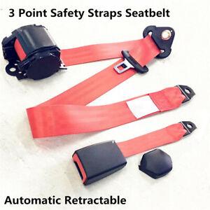 Universal 3 Point Retractable Car Seat Belt Lap /& Diagonal Belt Strap Buckle