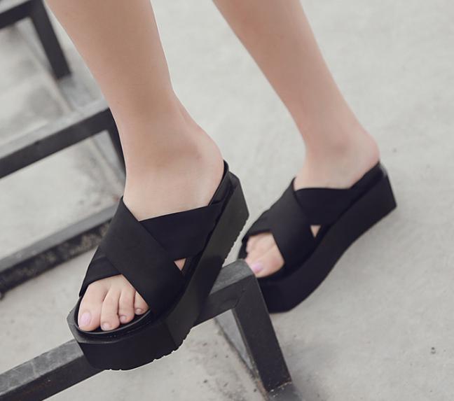 Summer Platform pantoufles femme open toes Ascenseur Chaussures Sandale Talons Hauts Casual