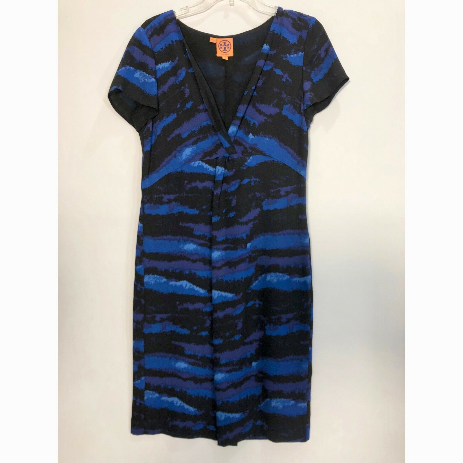 Tory Burch Silk Woherren Dress Zebra Print Blau   schwarz Größe 10 Side Zipper