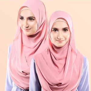 Bubble-Pop-Chiffon-Maxi-Women-Hijab-Scarf-Shawl-Wrap-Muslim-Islamic-Headwear