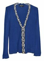 Jones New York Blue with Faceted Cut Metal Squares Womens Cardigan Sweater Sz M