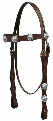 Western Leather Headstall w// Silver Engraved Conchos /& Reins