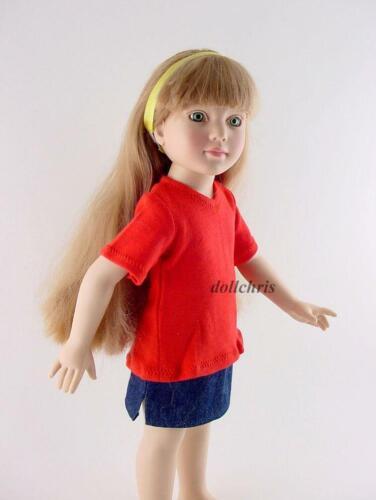 "Denim Skirt V-Neck Top 2pc Clothes Lot 18/"" Slim Dolls Magic Attic Just Pretend"