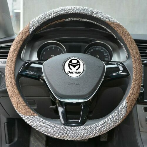 Dermay® Car Steering Wheel Cover Flax Fabric THICKER Good Touch Anti-slip M Size