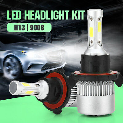 H13 9008 7200LM COB LED Car Headlight 6000K 72W Light Bulbs Hi/Low Beams White