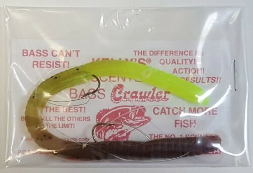 KELLY/'S® BASS CRAWLER™ SCENTED PLASTIC WORMS WEEDLESS 17 COLORS USA MADE!