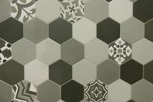 Das Bild Wird Geladen Patchwork Bodenfliesen Hexagon Fliese  Zementfliesen Boden Fliesen Grau