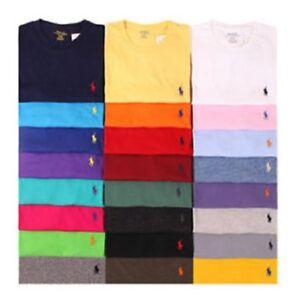 Nuevo-Para-Hombres-Polo-Ralph-Lauren-Cuello-Redondo-Mangas-Cortas-Calce-Personalizado-Camiseta-S-2XL