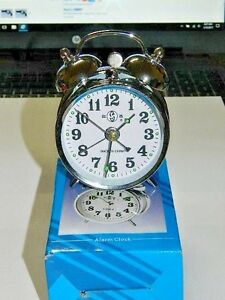 Chrome-Silver-Old-Fashioned-Alarm-Clock-Wind-Up-No-Batteries-Required-USA-Stock