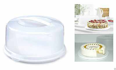 Plastic Cake Box Round Cake Storage Carrier Container Clear Lockable Lid Cover