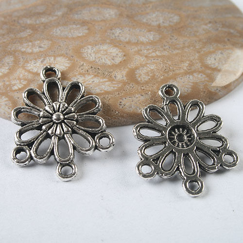 14pc dark silver tone flower finding connector h3476