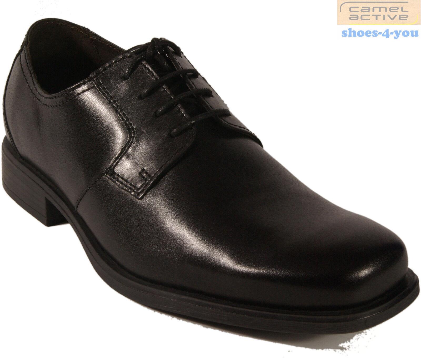 CAMEL Active Affaires Chaussures Noir Chaussure Lacée semelle en caoutchouc en cuir véritable neuf