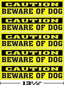 LOT-OF-5-3-034-x13-034-GLOSSY-STICKERS-CAUTION-BEWARE-OF-DOG