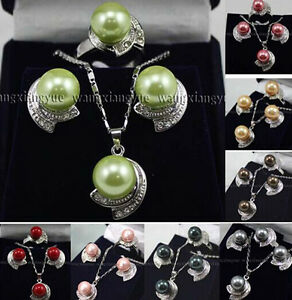 8Colors-Fashion-Jewelry-Shell-Pearl-Gemstones-Earrings-Ring-Pendant-Necklace-Set