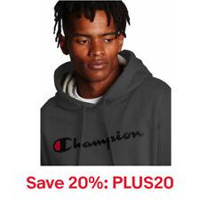 Champion Hoodie Men's Sweatshirt Script Logo Powerblend Pullover Kanga Pocket