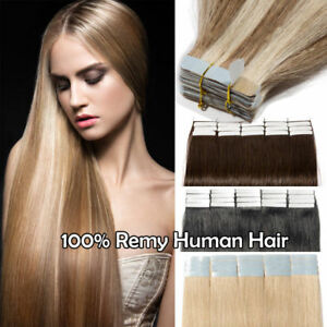 100-Remy-Human-Hair-Extensions-Tape-Glue-in-Long-20-60PCS-Skin-Weft-Highlight