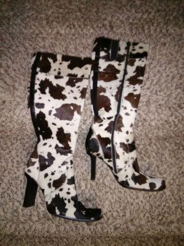 Bebe Ponyhair Cow Print Knee High Boots - Size 8M
