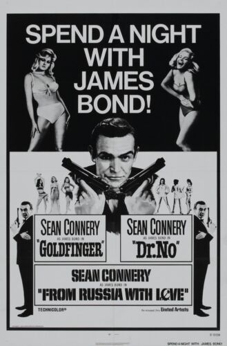 """JAMES BOND SPEND A NIGHT WITH BOND SEAN CONNERY MOVIE POSTER 18/"""" X 12/"""""""