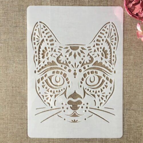 A4 grande gatto gatti in plastica Stencil Riutilizzabile MYLAR