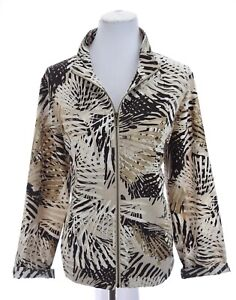 Zenergy-Chicos-Womens-Lightweight-Zip-Up-Jacket-Gold-Metallic-Print-Sz-2-Large