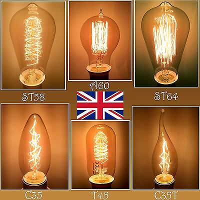 paul russells/® 5 X Dimmable Vintage Retro Style Edison Bulbs Industrial ST64 Shape Squirrel Cage Screw Filament Amber Glass Antique Decorative Light ES E27 2700K Warm White 40W Incandescent Lamp Pack of 5 Bulbs