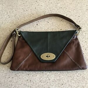 Carla-Mancini-Clutch-Leather-Envelope-Fold-Over-Green-Brown-Shoulder-Strap-USA