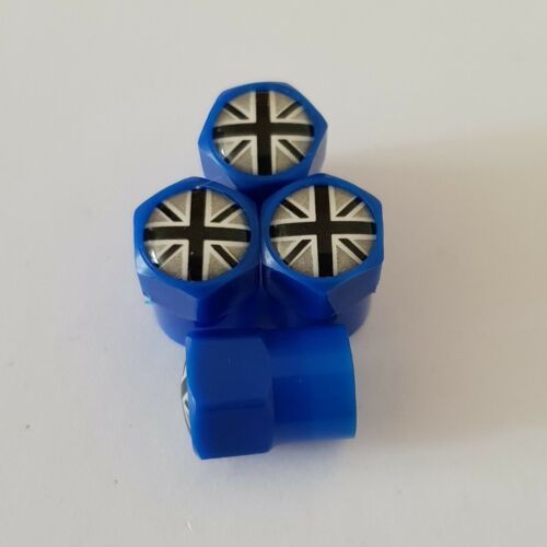 GREY UNION JACK BLUE Plastic Wheel Valve Dust caps all models 7 colour CAR//BIKE