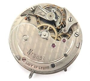 SCARCE-ANTIQUE-LADY-OF-LYONS-LEVER-SET-POCKET-WATCH-MOVEMENT-amp-DIAL