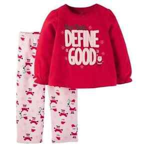 4f4c5135d 2pc NEW CARTER S HOLIDAY FLEECE PAJAMAS PJ top pants girl Dear Santa ...