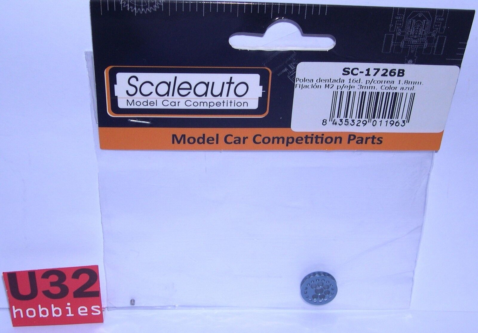 SCALEAUTO SC-1726B PULLEY TOOTHED WHEELS 16 TEETH 0 1 16in AXIS 0 1 8in blueE