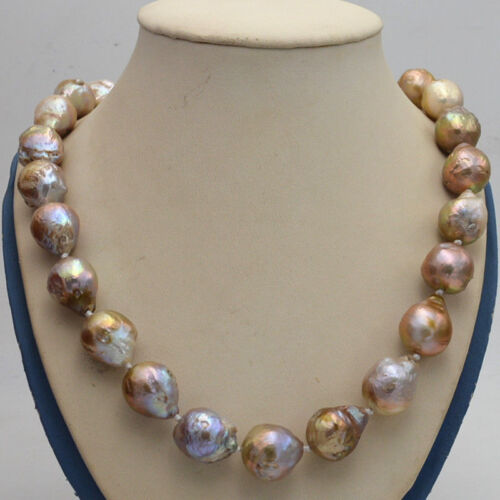 """Reborn Baroque Edison Pearl Knot Jewelry Necklac 16-50"""" AA Natural 14x17mm"""