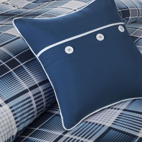 BEAUTIFUL MODERN LIGHT BLUE NAVY GREY PLAID STRIPE COMFORTER SET /& 2 PILLOWS NEW