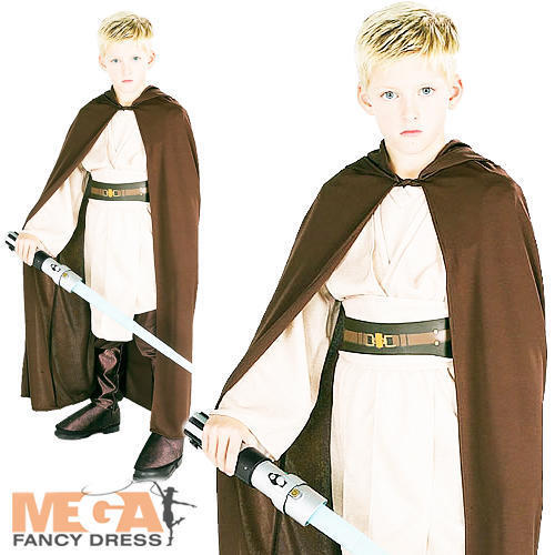 Brun jedi robe Garçons Star Wars Tenue Costume Robe Fantaisie Accessoire âges 3-10 y