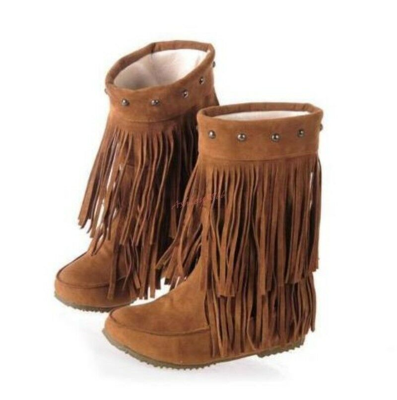 Womens Rivet Tassel Fringe Winter Suede Slouchy Hidden Wedge Heels Ankle Boots