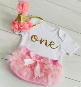 Image Is Loading Baby Girls Cake Smash First 1st Birthday Outfit