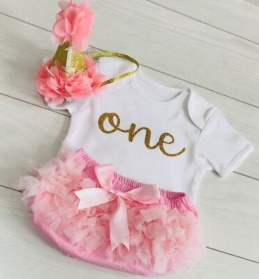 Wondrous Baby Girls Cake Smash First 1St Birthday Outfit Tutu Knickers Pink Funny Birthday Cards Online Barepcheapnameinfo