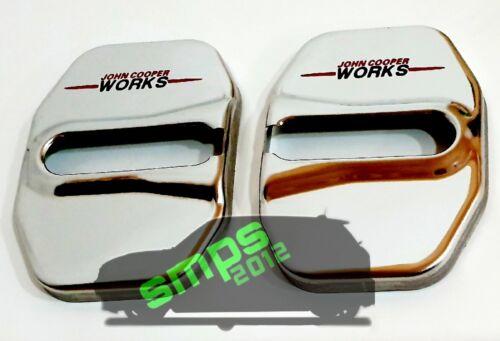 Mini F55 JCW Logo Cerradura de puerta cubre Pestillo de cromo John Cooper Works Paquete de 4