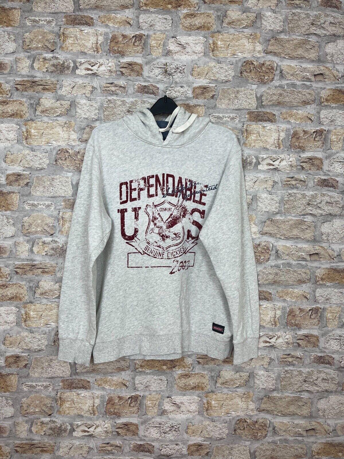 Vintage retro 90's USA Dickies grey sweatshirt hoodie men's size large logo #41