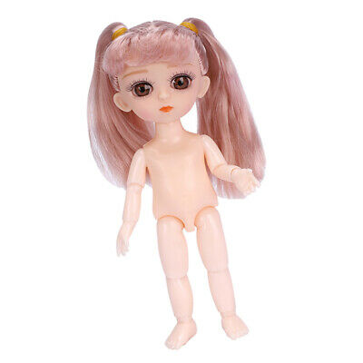 13 Joints 1//12 Scale Mini Doll Nude for BJD Doll Body DIY Parts Double-Buns