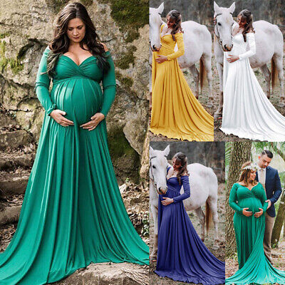 UK Women Pregnant Maternity Long Maxi Dress V Neck Gown Photography Props Dress