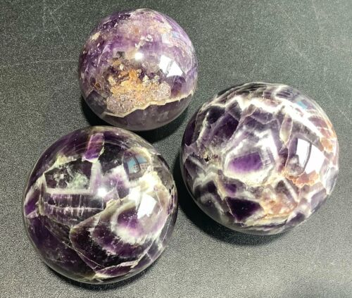 Wholesale Bulk Lot 3 Pack Of Amethyst Orbs Carved Crystal Decor Spheres Balls