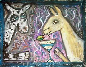 NIGERIAN-DWARF-Dairy-Goat-Drinking-a-Martini-8x10-Farm-Art-Print-Signed-by-KSams