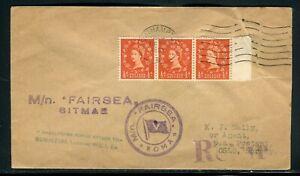 """Royaume Uni - Enveloppe Par Bateau """" M/n Fairsea Rma """" Pour Oslo En 1959 PréVenir Le Grisonnement Des Cheveux Et Aider à Conserver Le Teint"""