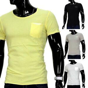 Hommes-Ete-T-shirt-Polo-stretch-Slim-Fit-Clubwear-Shirt-poche-poitrine-poche