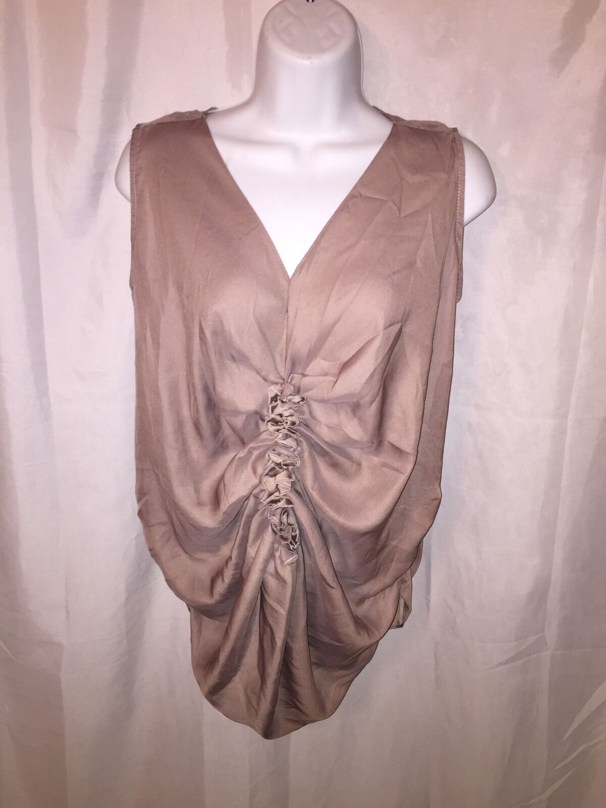Pre-loved authentic LANVIN Paris SIZE 2 sleeveless TAN silk blouse RETAIL 850